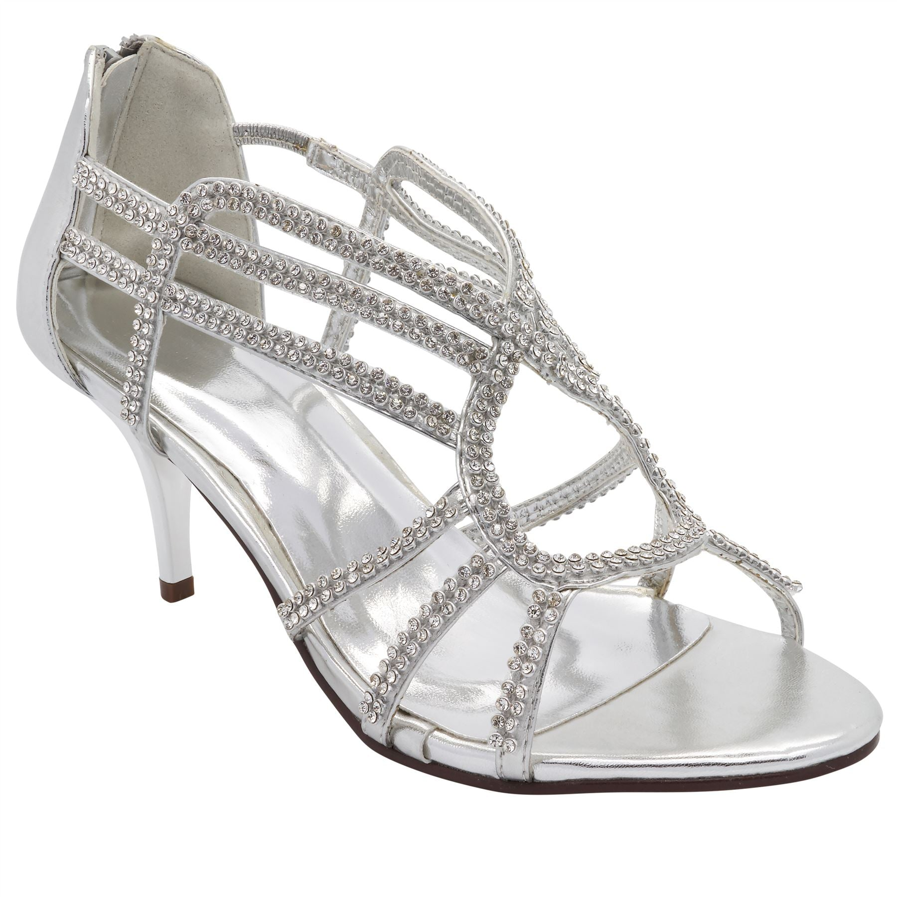 Silver Diamante Caged Heeled Sandals
