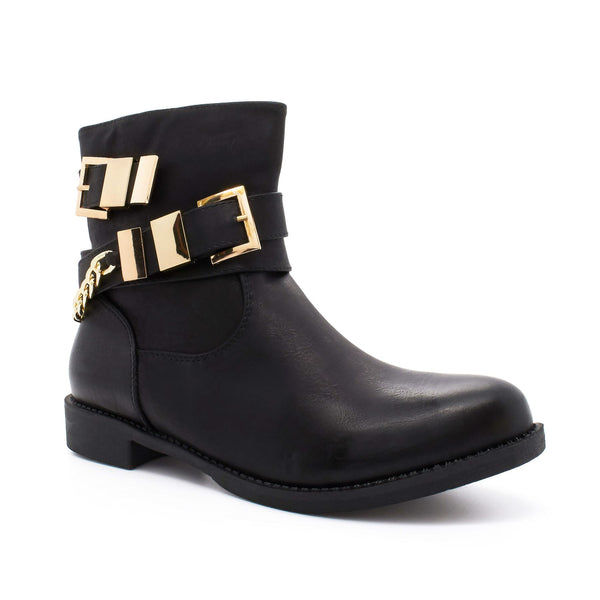 Black Chain Strap Zip Ankle Boot