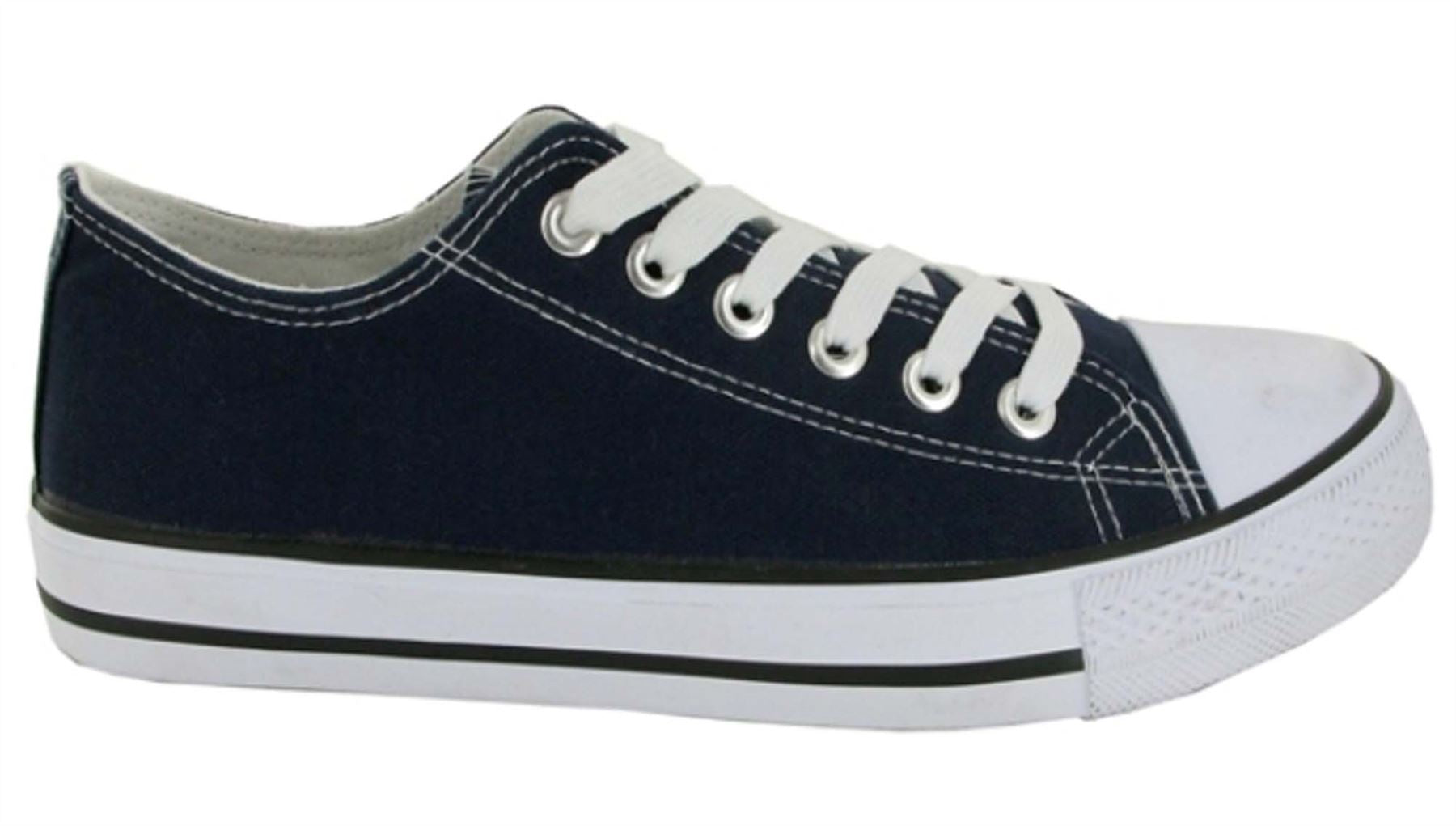Blue Canvas Lace Up Trainers