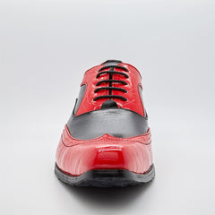 Black & Red Moc Croc Oxford Shoes