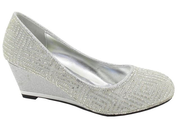 Silver Diamante Wedge Heeled Court Shoes