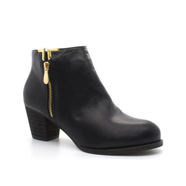 Black Faux Leather Zip Chelsea Boot