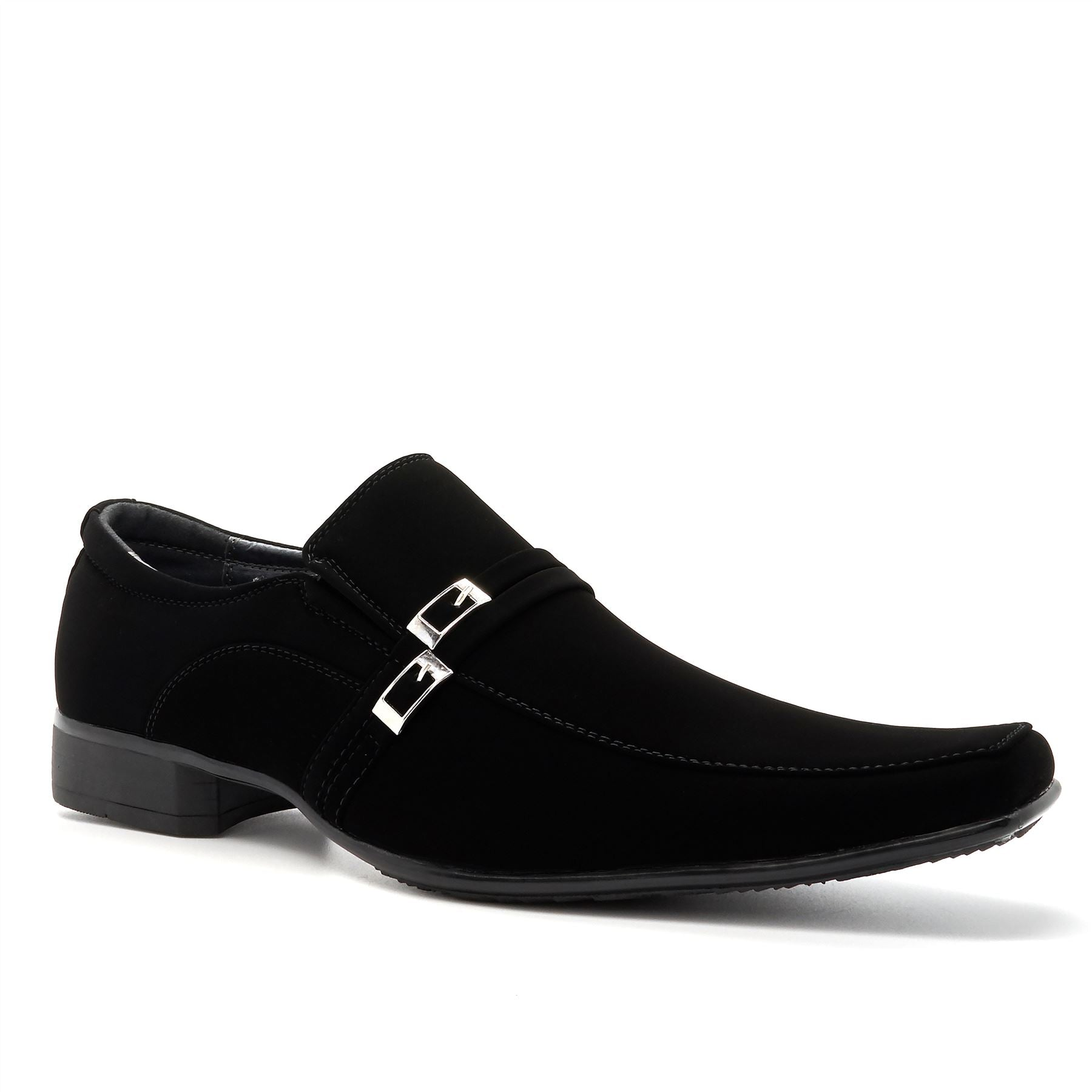 Black Suedette Pin Buckle Detail Slip On