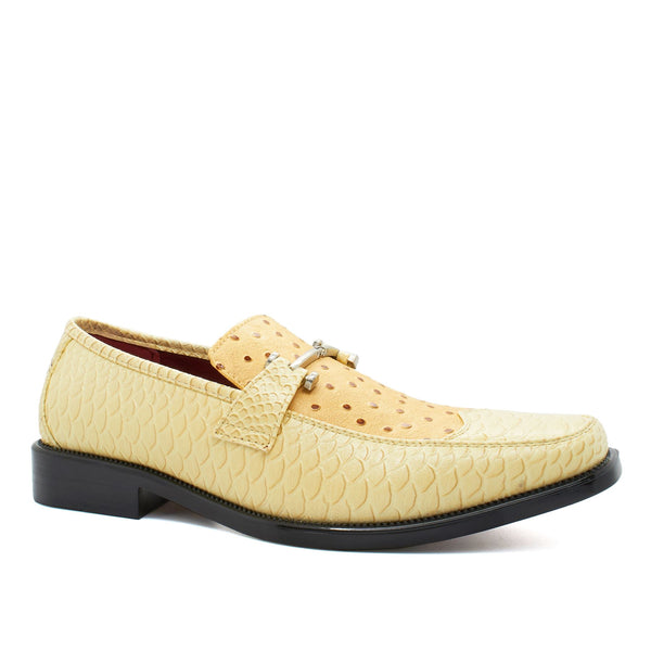 Beige Snake Print Slip On Shoes