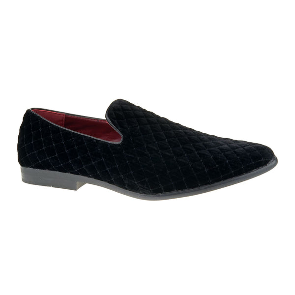 Black Velvet Quilted Slip On Loafers