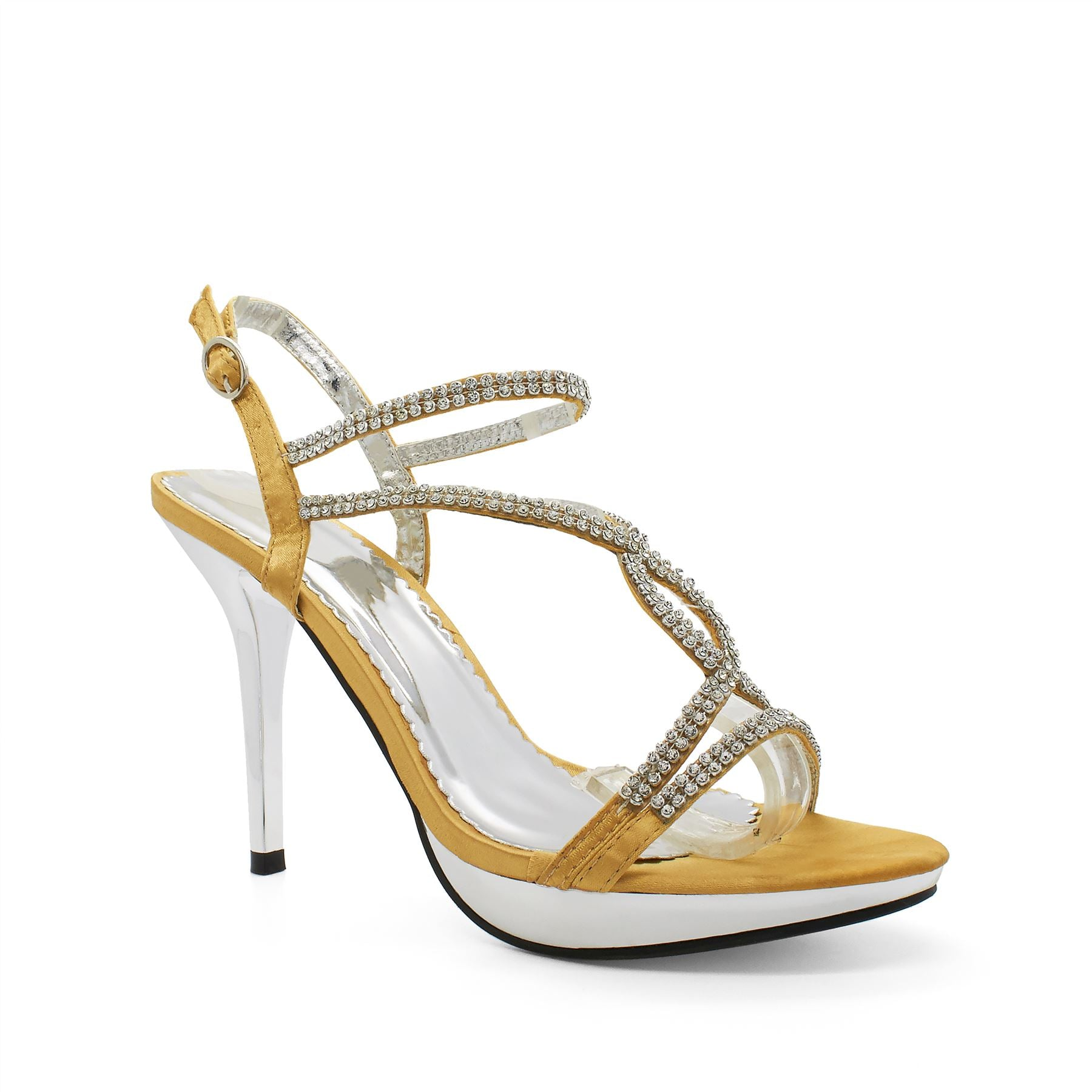 Gold Satin Embellished Heeled Sandals
