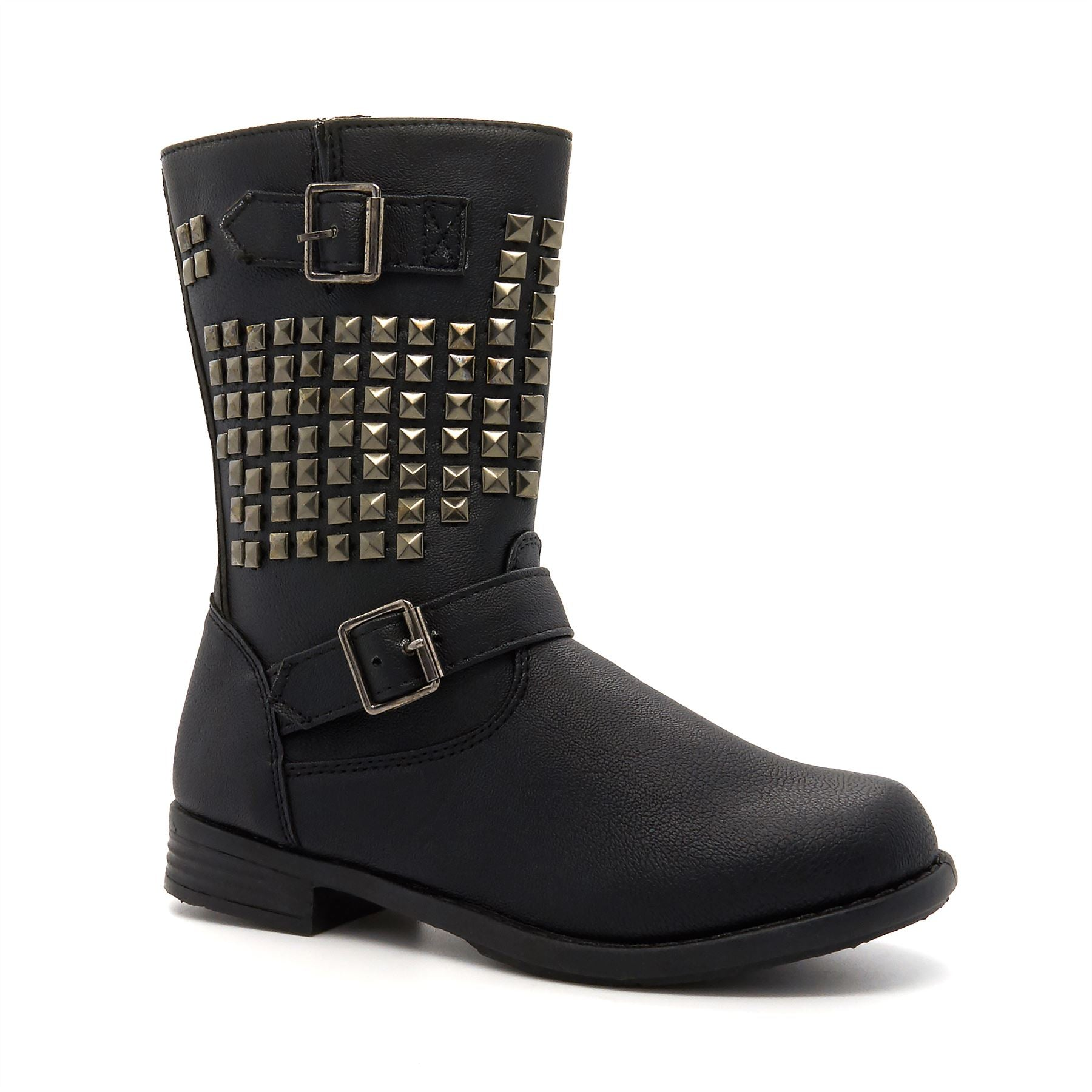 Black Stud Detail Calf Boots