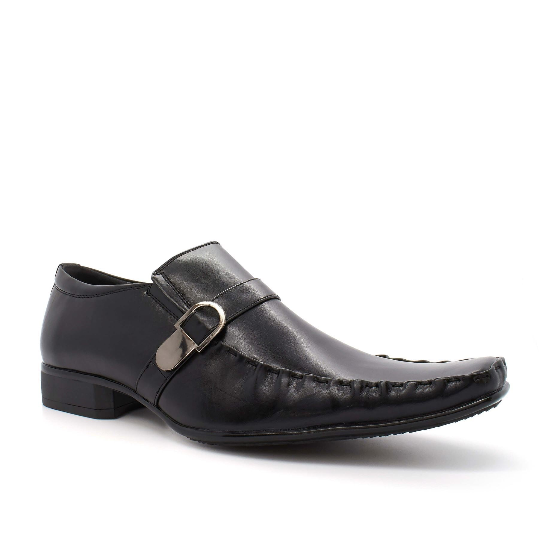 Black Leather Look Buckle Shoes