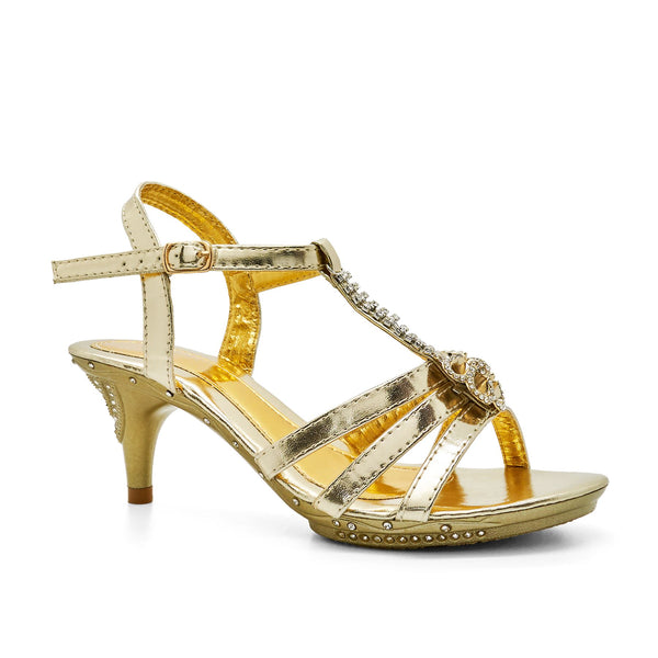 Light Gold Diamante T-Bar Heeled Sandal