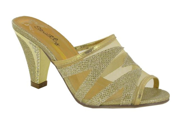 Gold Glitter Heeled Mules