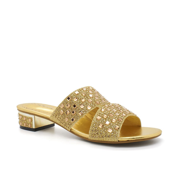 Gold Diamante Open Toe Block Heel