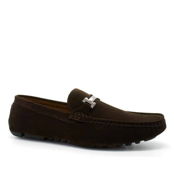 Brown Suedette Bar Buckle Driving Shoes