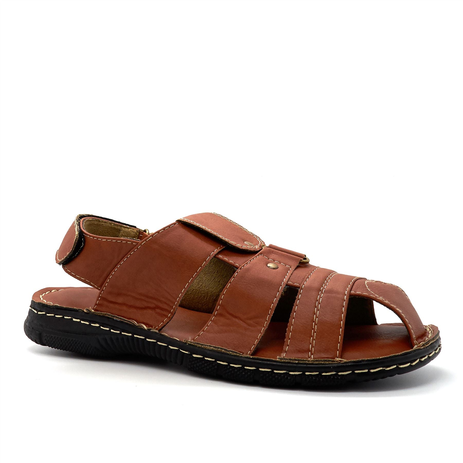 Tan Faux Leather Fisherman Sandals