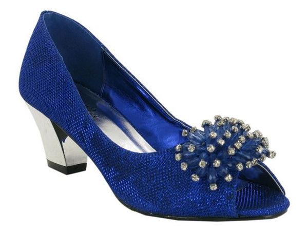 Blue Flower Detail Block Heeled Court Shoes