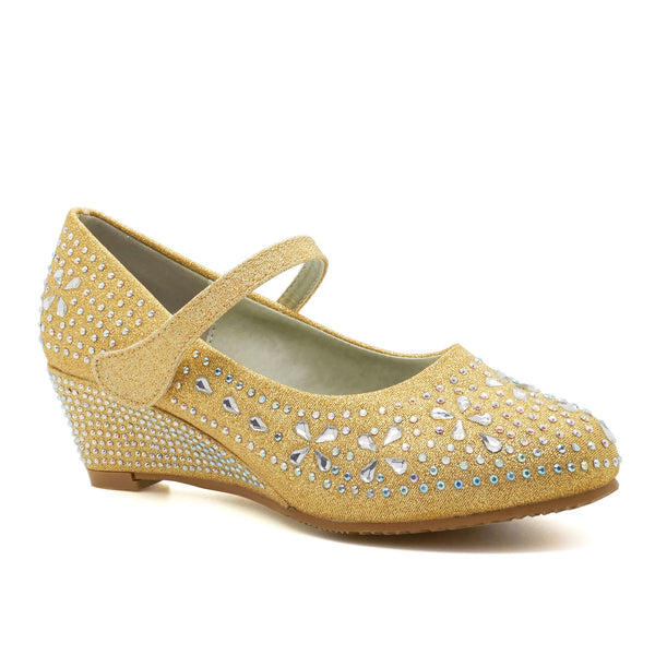 Gold Diamante Wedge Heeled Court Shoes