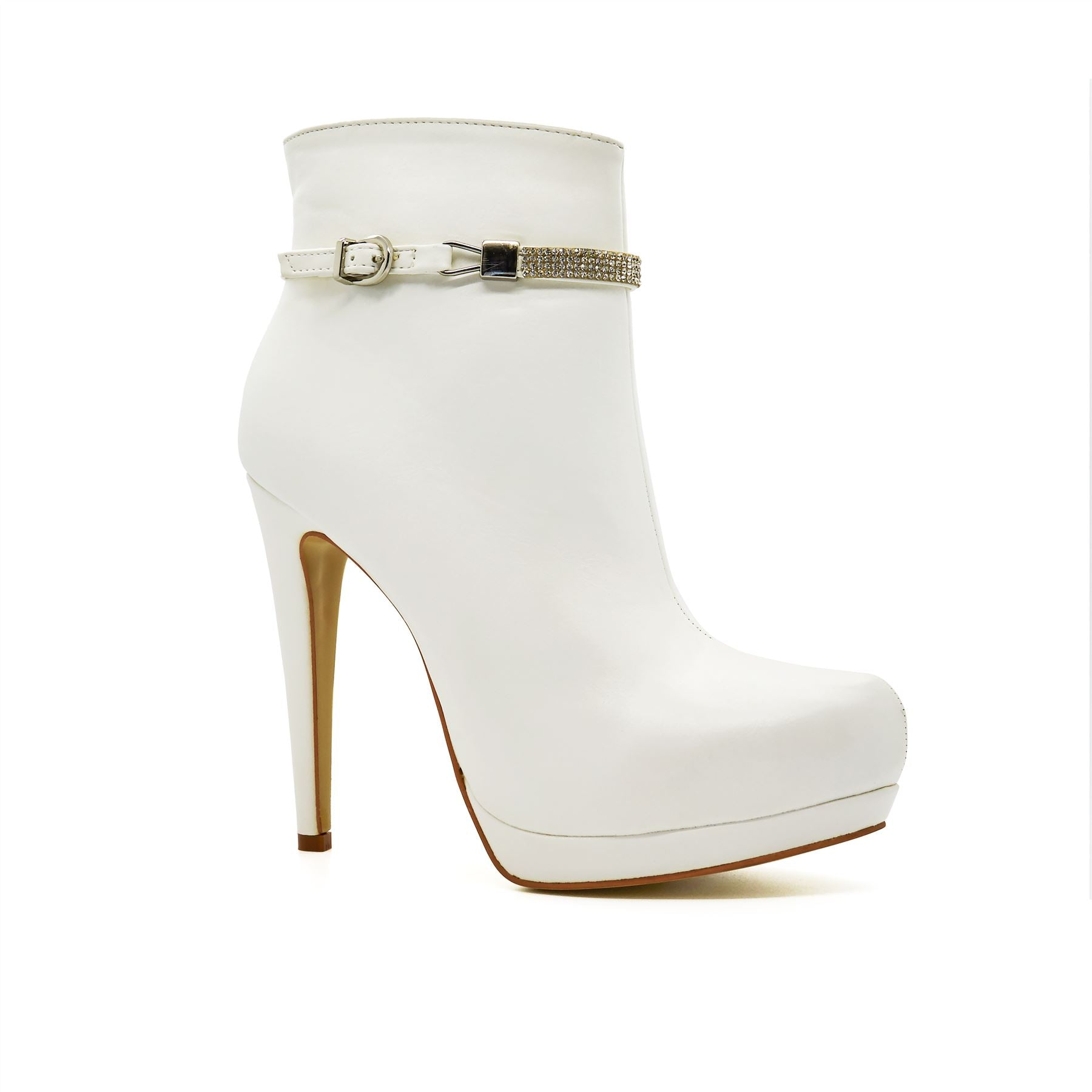 White Leather Look Diamante Ankle Boots
