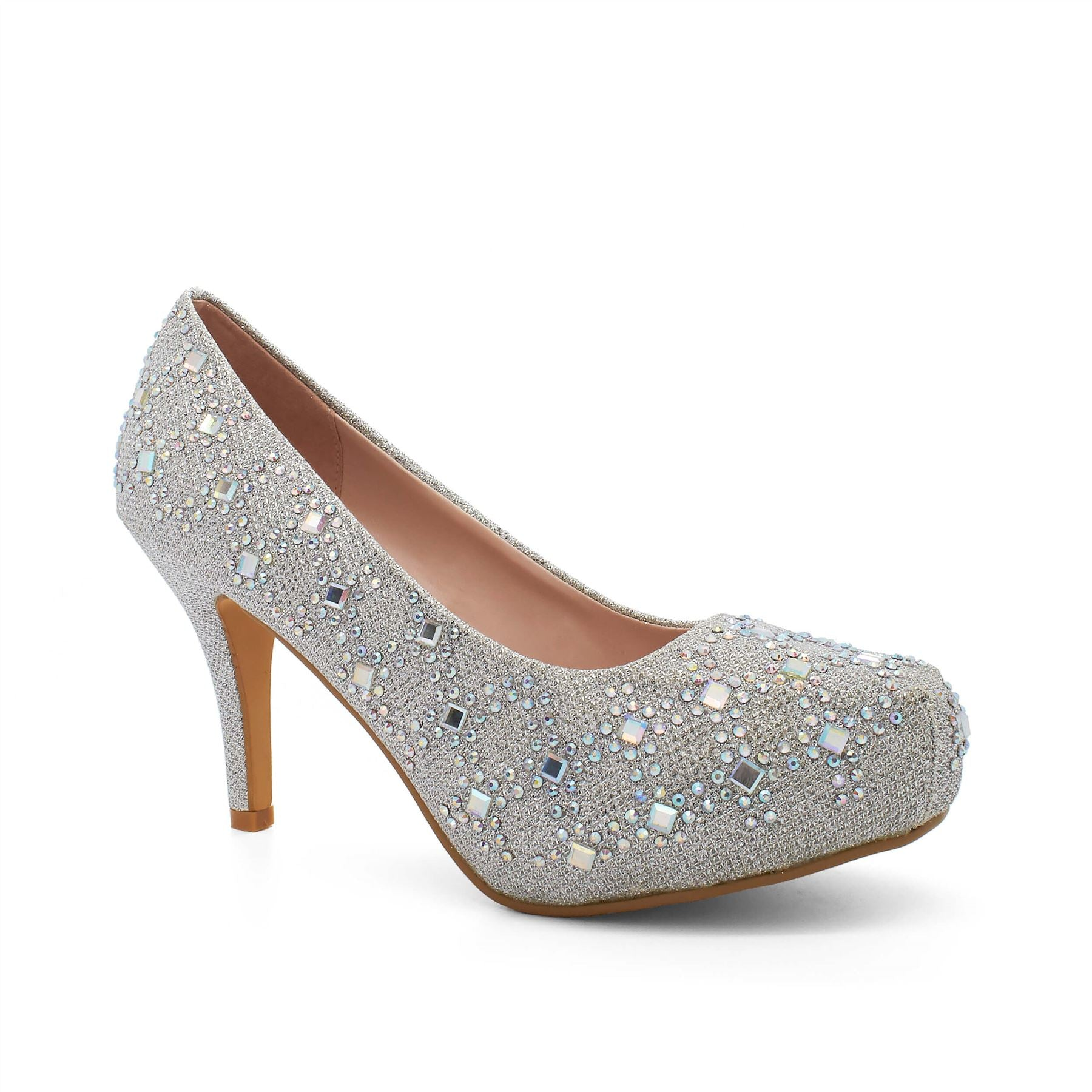 Silver Diamante Heeled Court Shoes