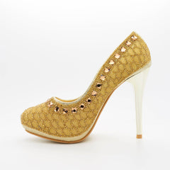 Gold Diamante Beaded  Stiletto Heel