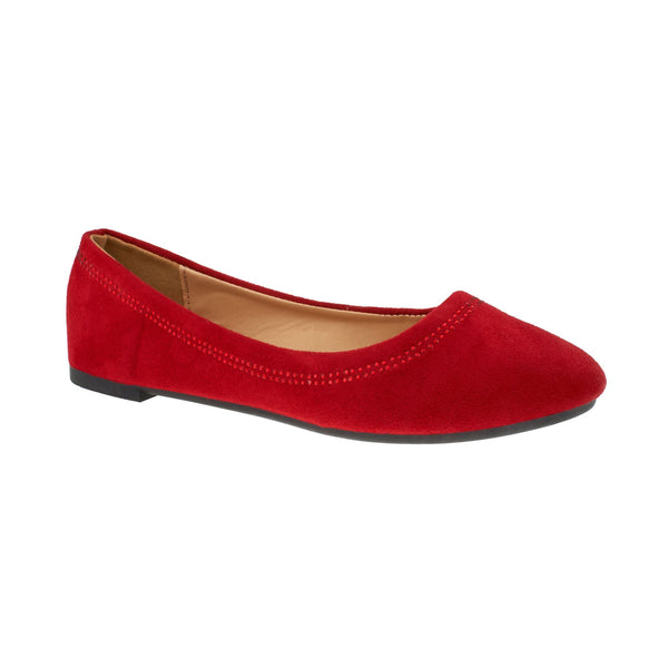 Red Faux Suede Diamante Ballet Flats