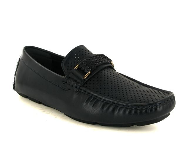 Navy Perforated Driving Shoes