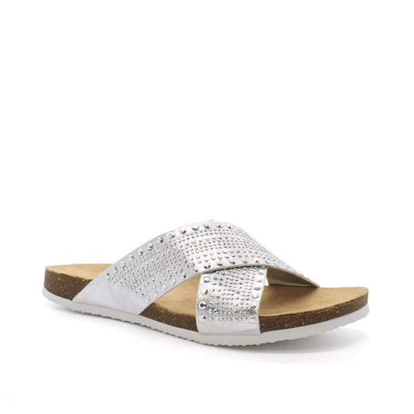 Silver Cross Strap Open Toe Flat