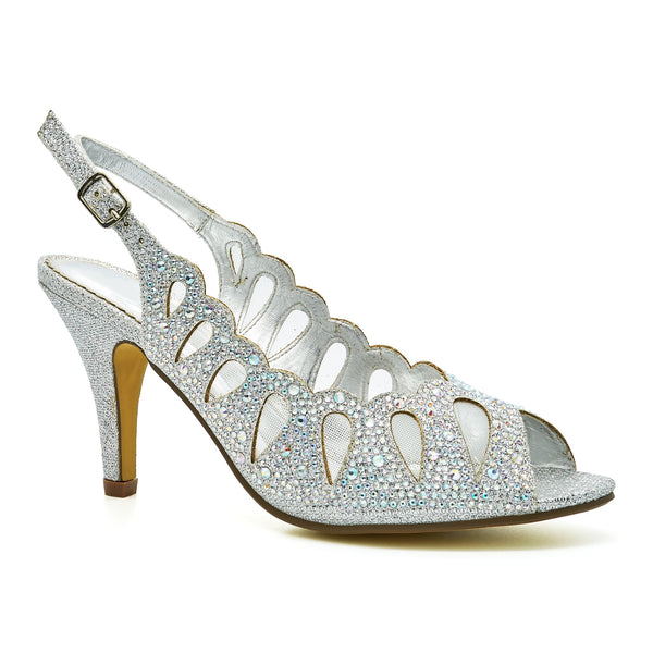 Silver Diamante Heeled Sandals