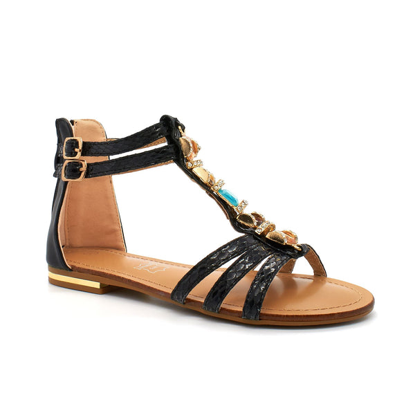 Black Jewelled Gladiator Flat Sandals