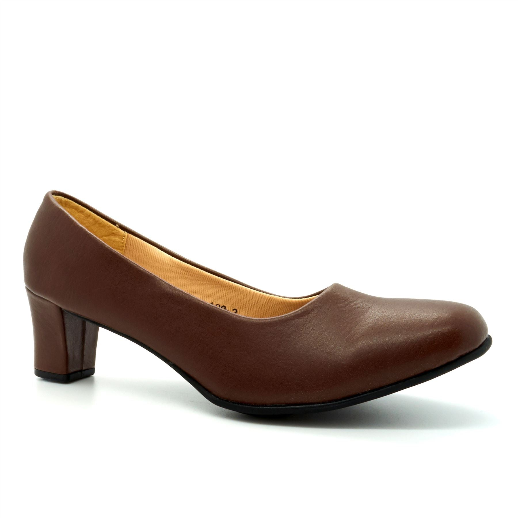 Brown Block Heeled Court Shoes