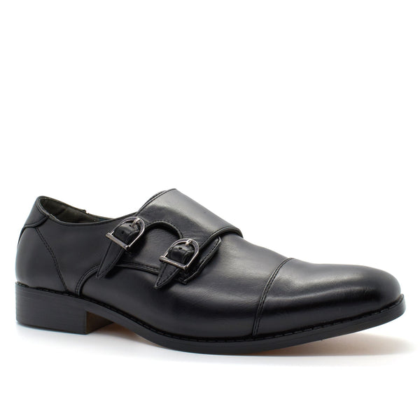 Black Double Strap Monk Shoes