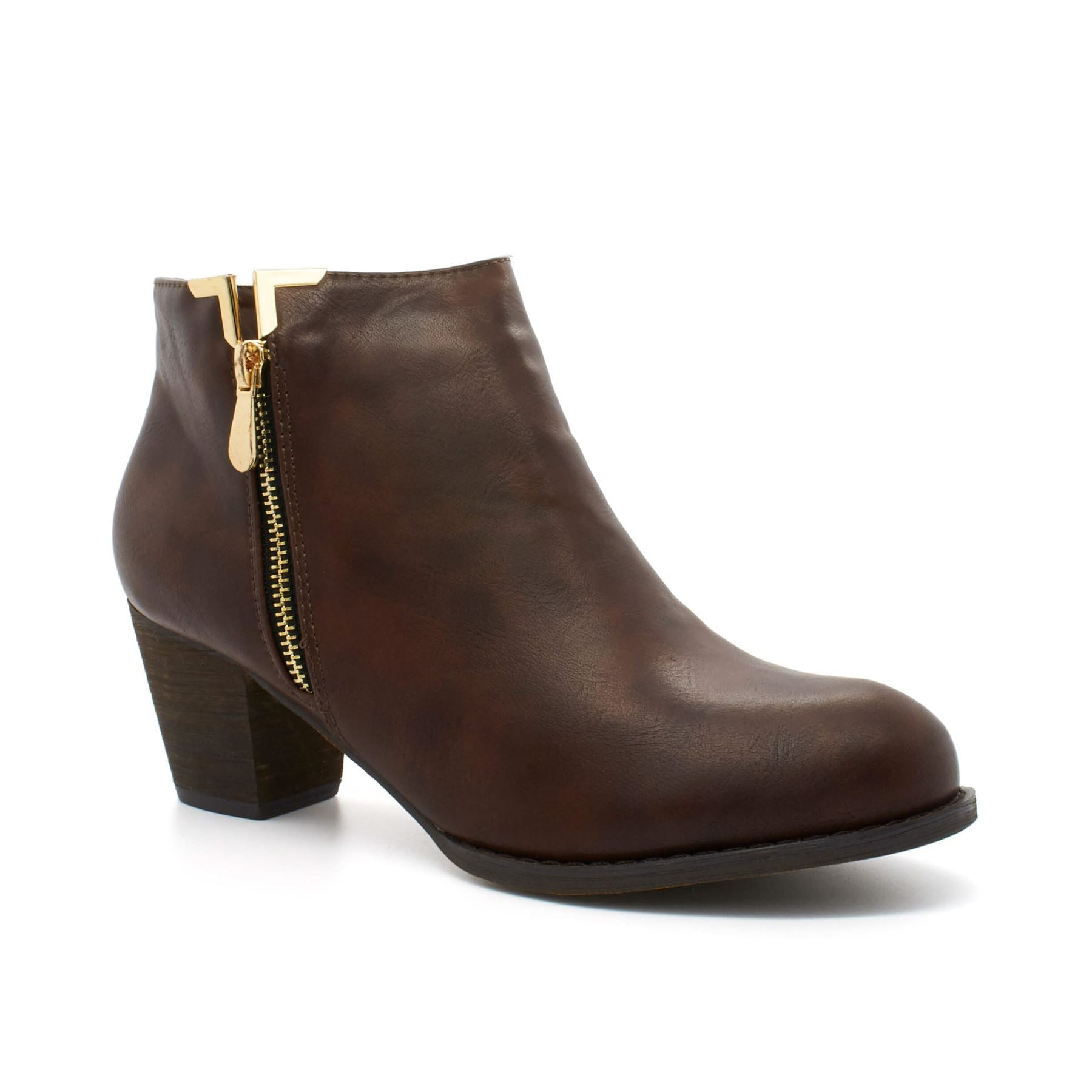 Brown Faux Leather Zip Chelsea Boot