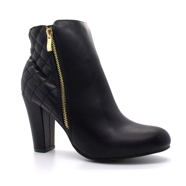 Black Quilted Block Heeled Boots