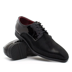 Black Chequered Derby Shoes