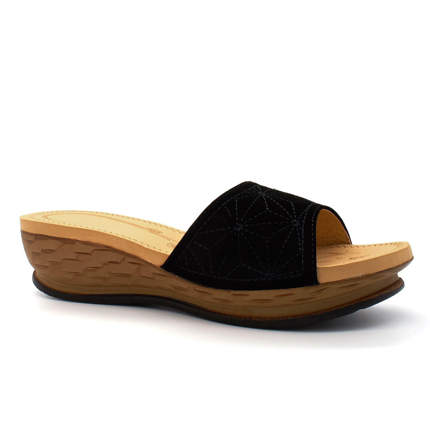 Black Foam Footbed Wedge Mules