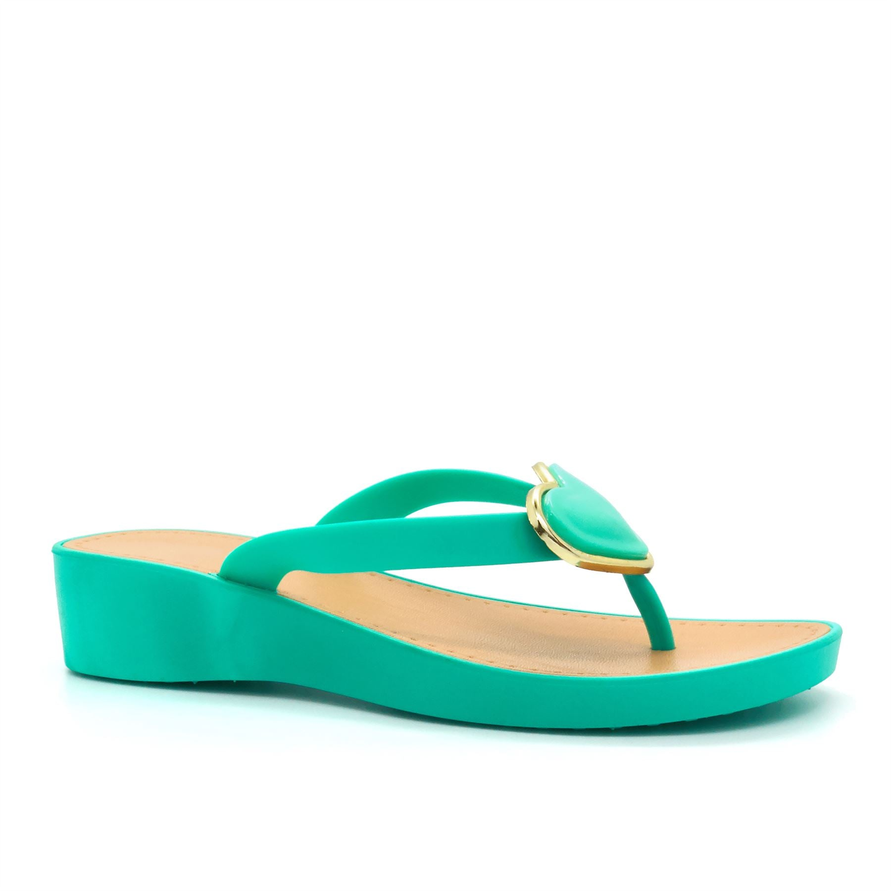 Turquoise Heart Brooch Wedge Heeled Flip Flops