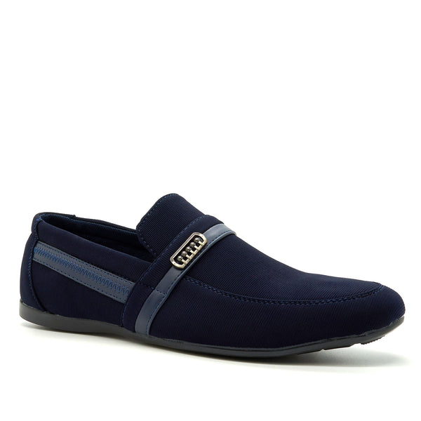 Blue Textile Buckle Detail Loafers