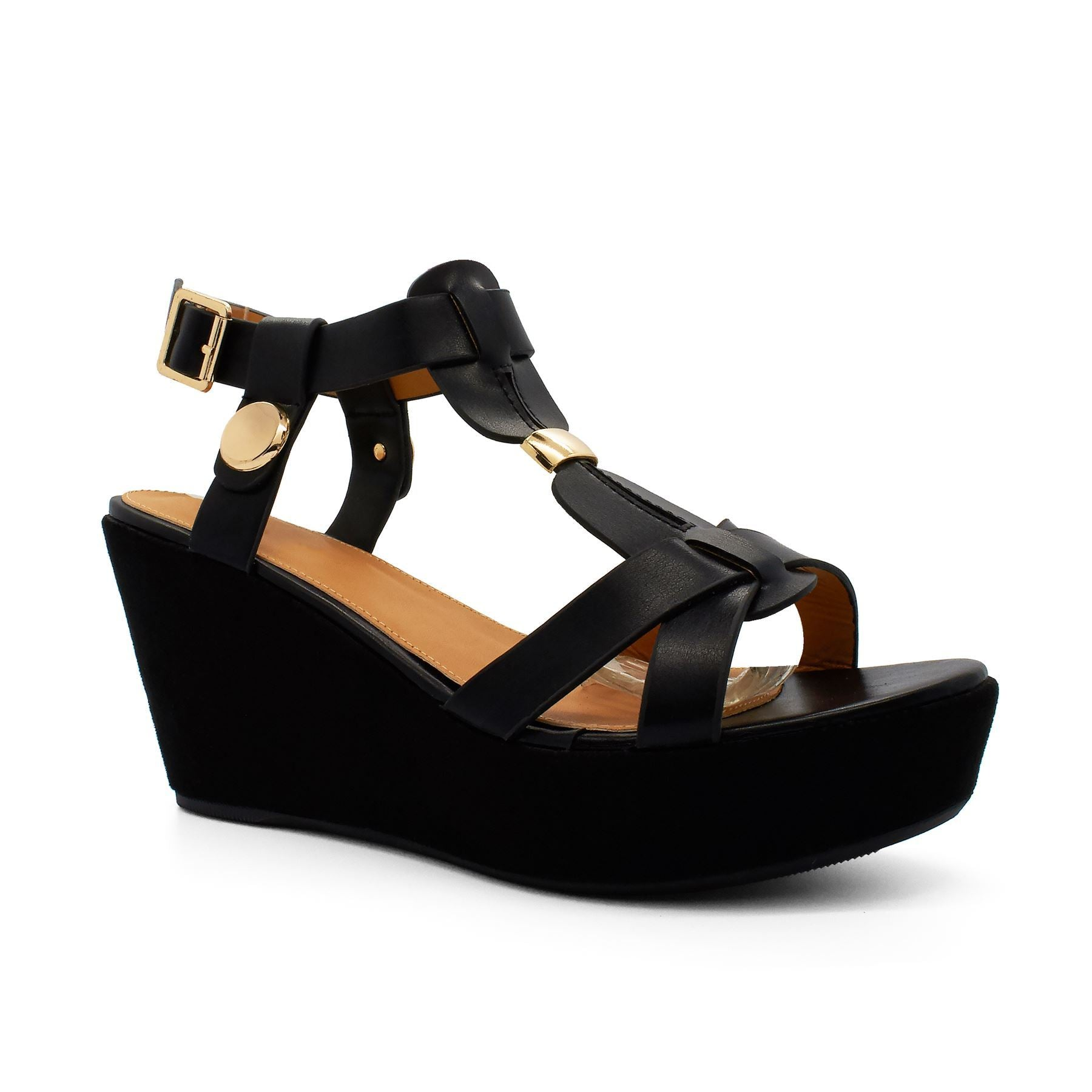 Black Suedette T-Bar Heeled Sandals
