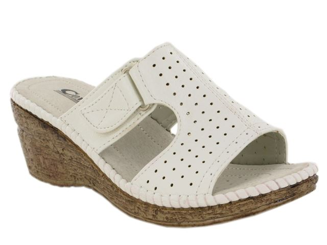 White Perforated Wedge Heeled Mules