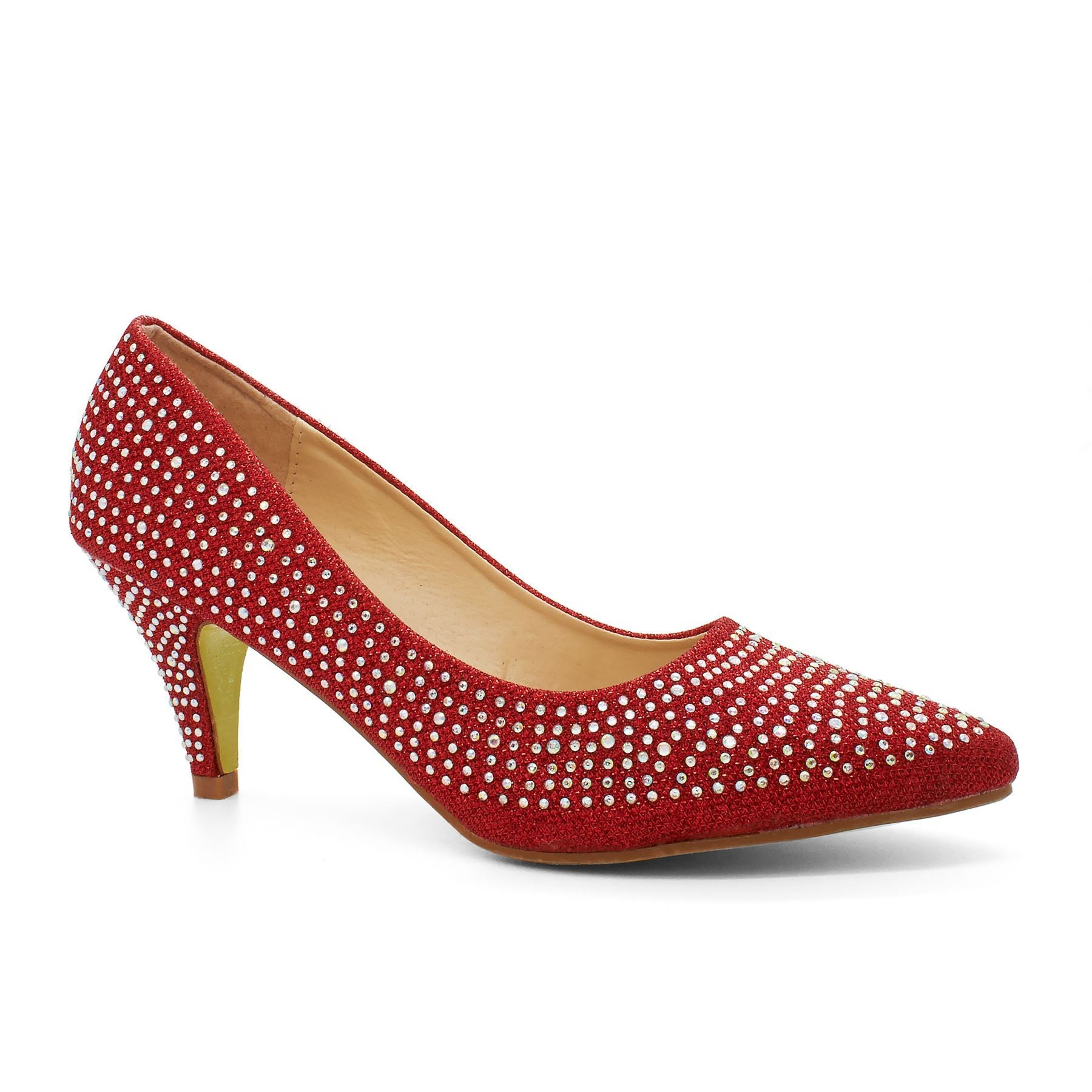 Red Pointed Toe Heeled Court Shoe