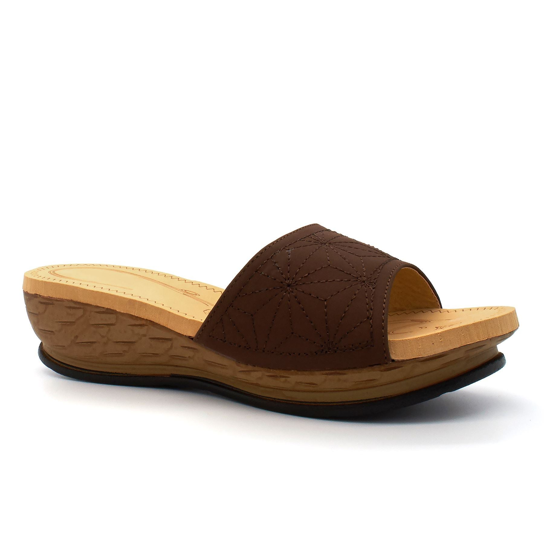 Brown Foam Footbed Wedge Mules
