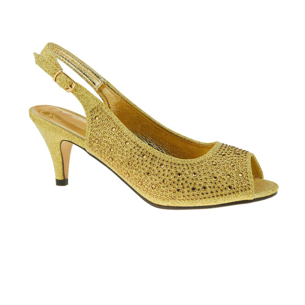 Gold All Over Diamante Heeled Sandals