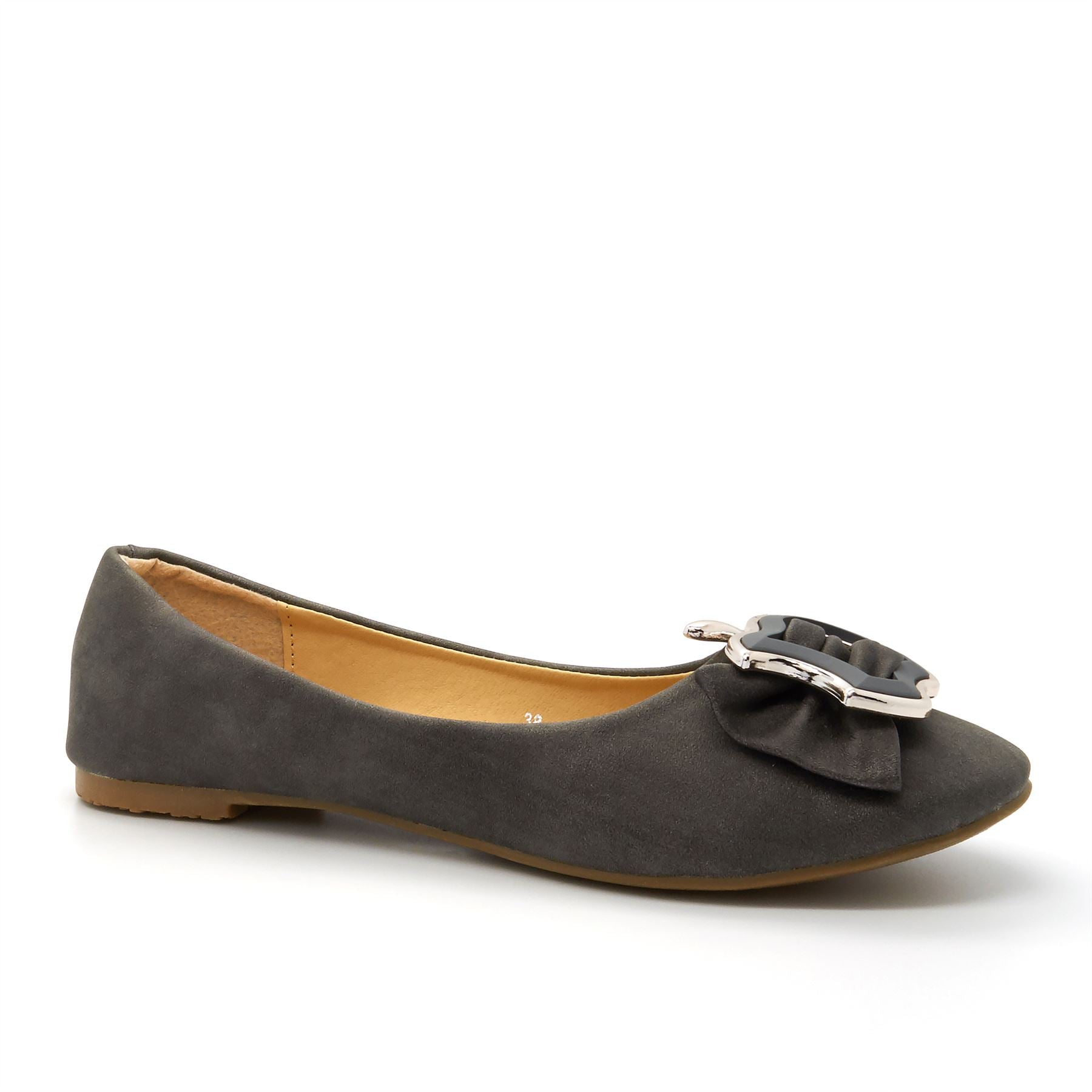 Grey Buckle Detail Ballet Flats
