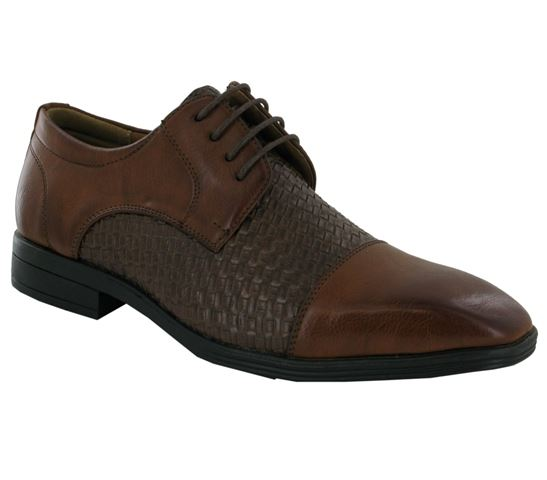Brown Woven Style Derby Shoes