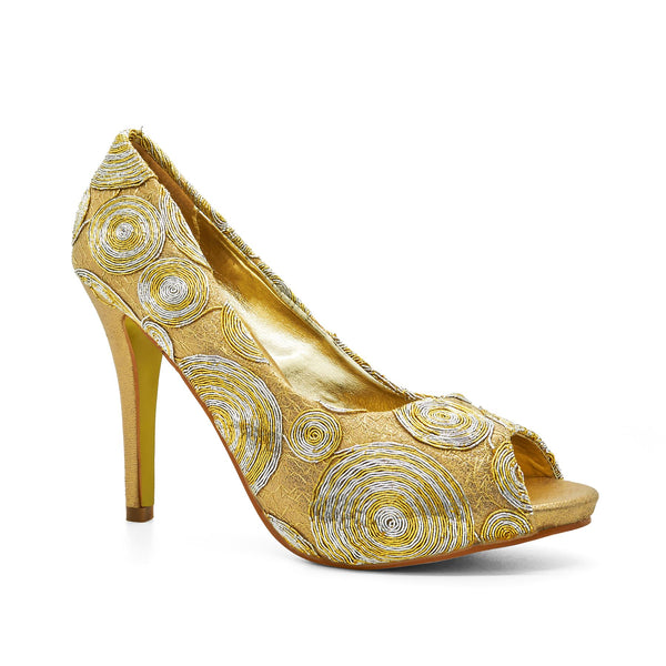 Gold Peep Toe Heeled Court Shoes