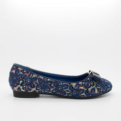 Blue Floral Patent Bow Slip On