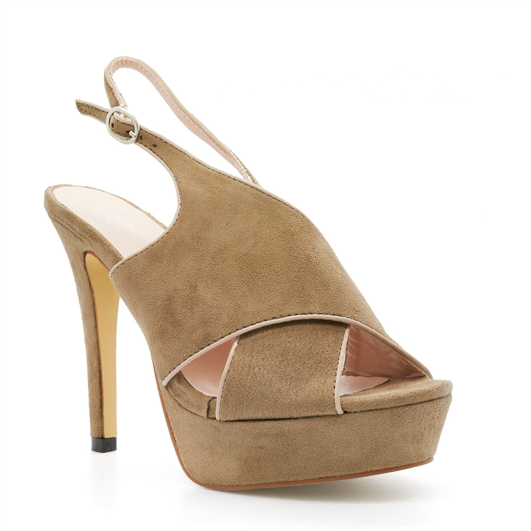 Tan Peep Toe Heeled Sandals