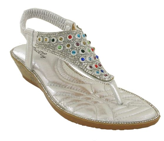 Silver Jewelled Wedge Heeled Sandals
