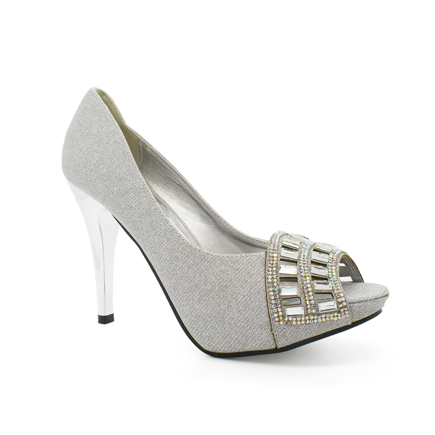 Silver Diamante Laser Cut Court Shoes