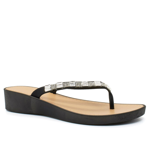 Black Diamante Wedge Heeled Flip Flops