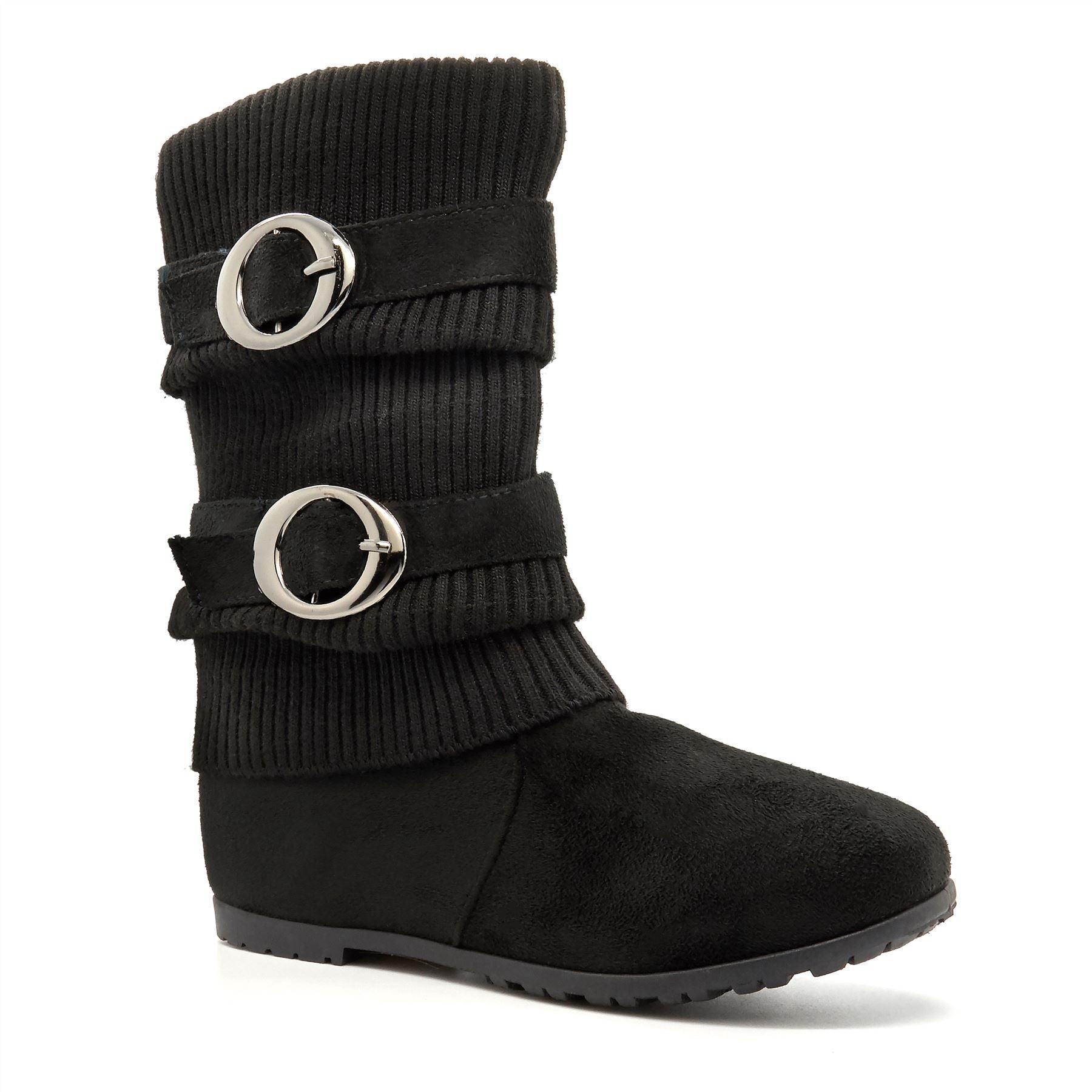 Black Faux Suede Knitted Calf Boots