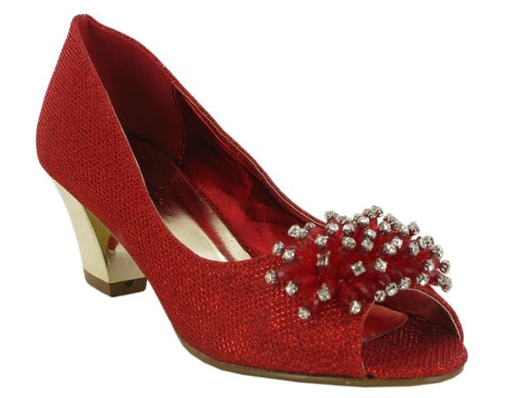 Red Flower Detail Block Heeled Court Shoes